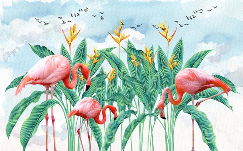 Фотообои Фламинго среди травы