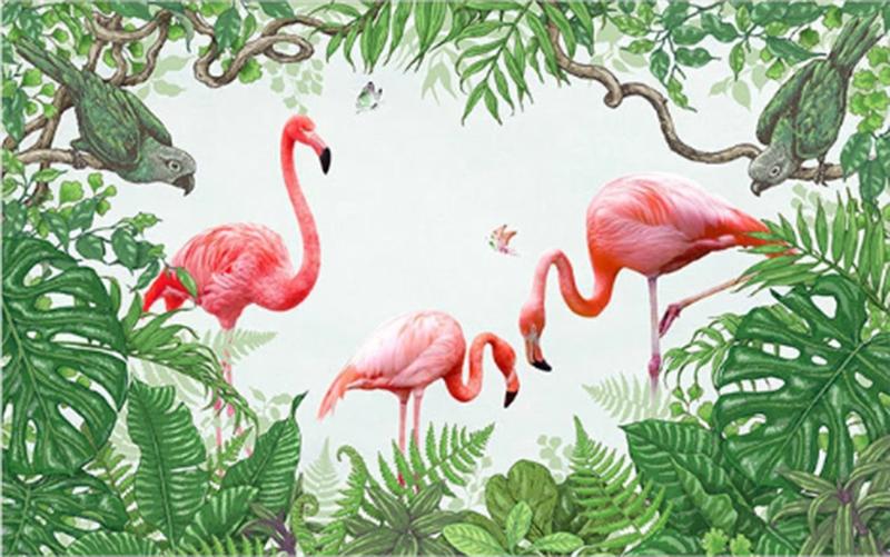 Фотообои Фламинго и попугаи