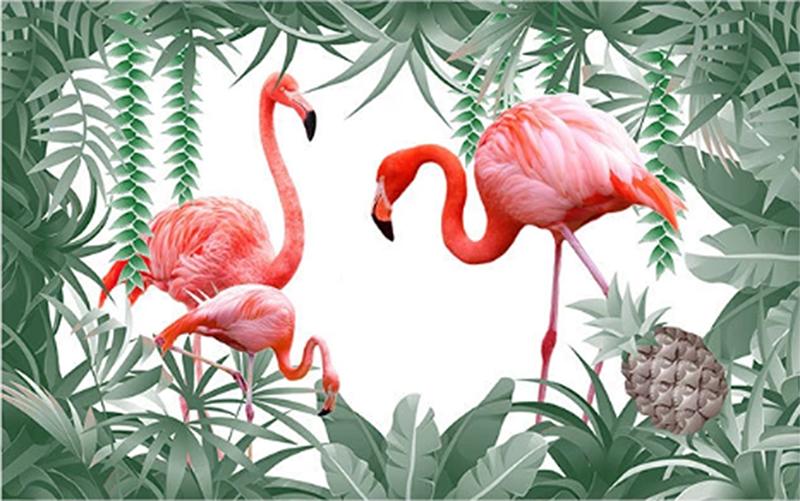 Фотообои Фламинго и ананас