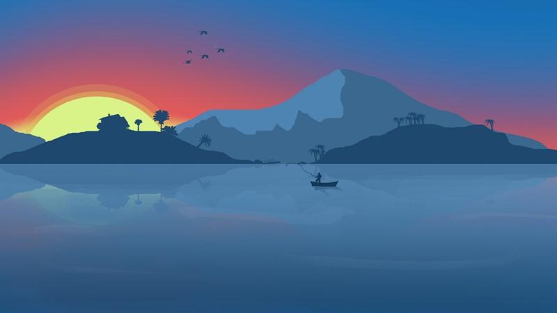 Фотообои Абстракция рыбак и закат