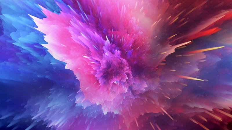 Салют из красок абстракция