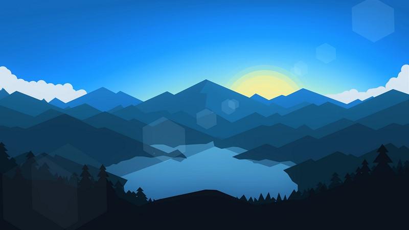 Фотообои Абстракция лес и горы