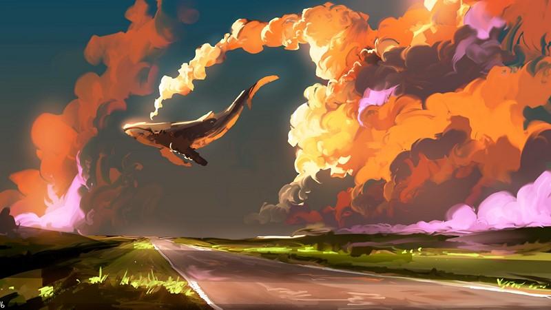 Фотообои Кит в небе