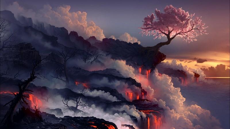 Фотообои Сакура и огонь