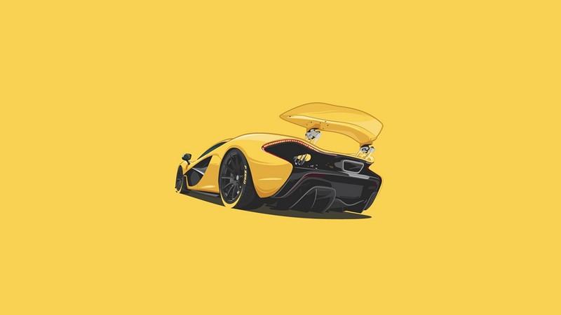 Фотообои Машина на желтом фоне