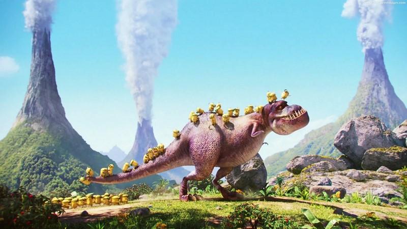 Фотообои Миньоны на динозавре
