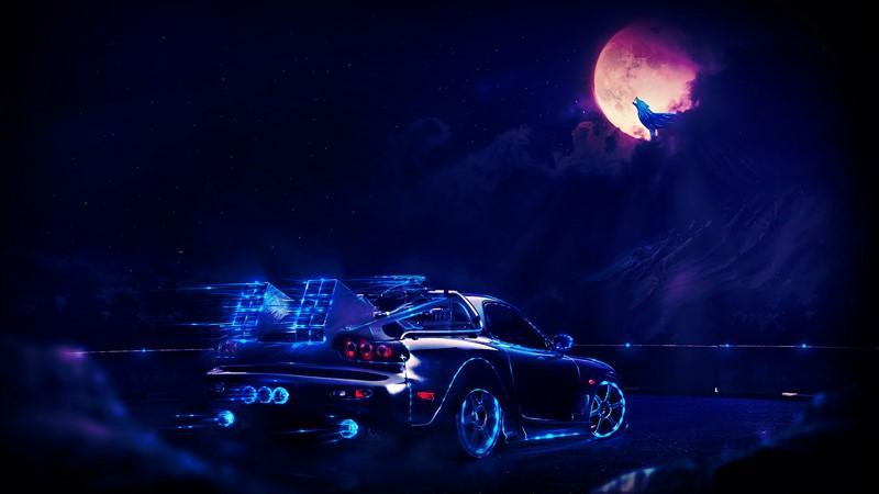Фотообои Машина под луной