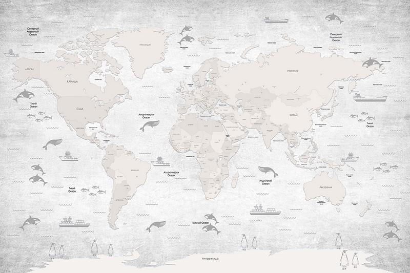 Фотообои Карта на русском арт