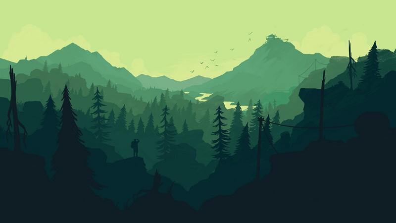 Фотообои Зелёный пейзаж арт