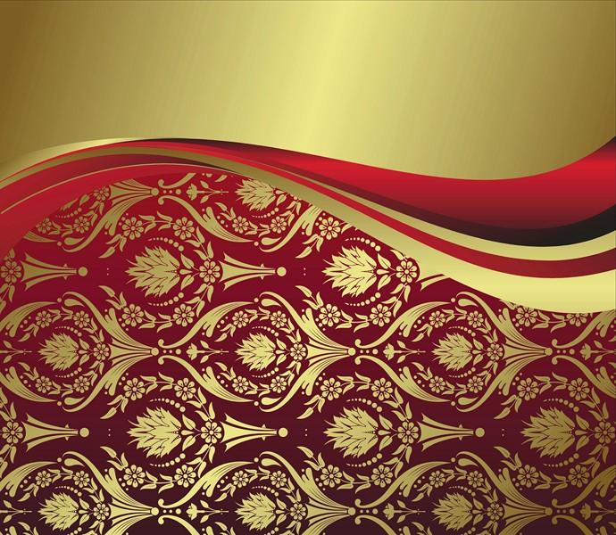 Фотообои Красно-золотой узор
