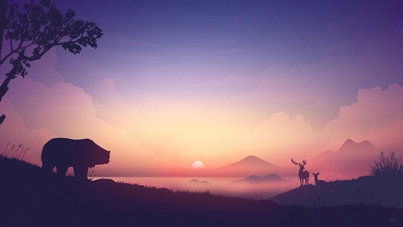 Фотообои Рассвет в горах