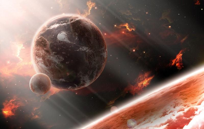 Фотообои Огненный космос