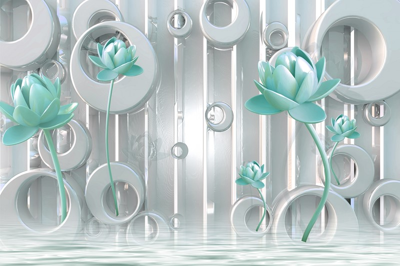 Фотообои Бирюзовые цветы