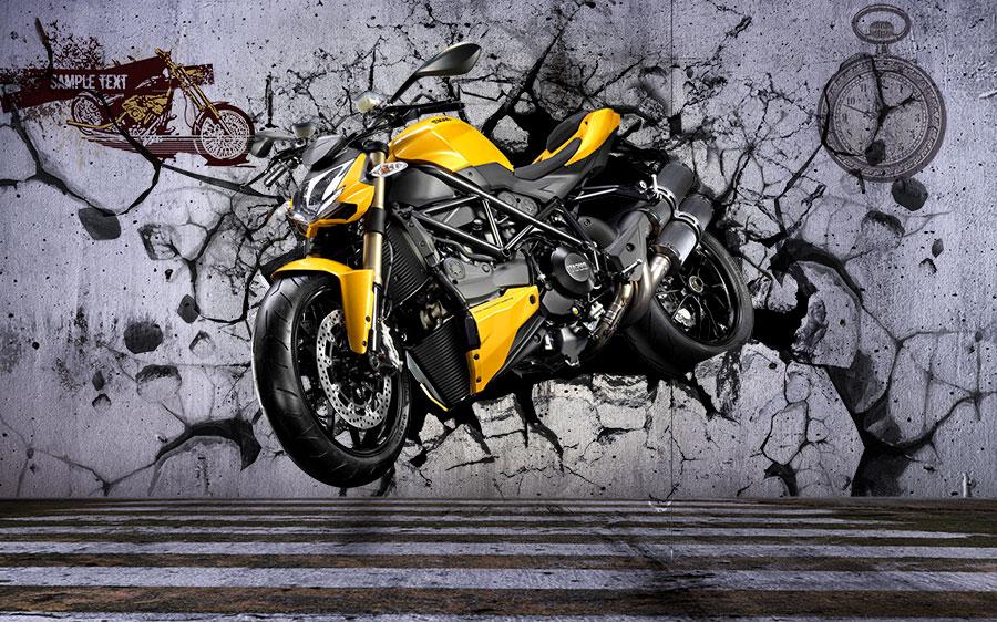 Фотообои Жёлтый мотоцикл