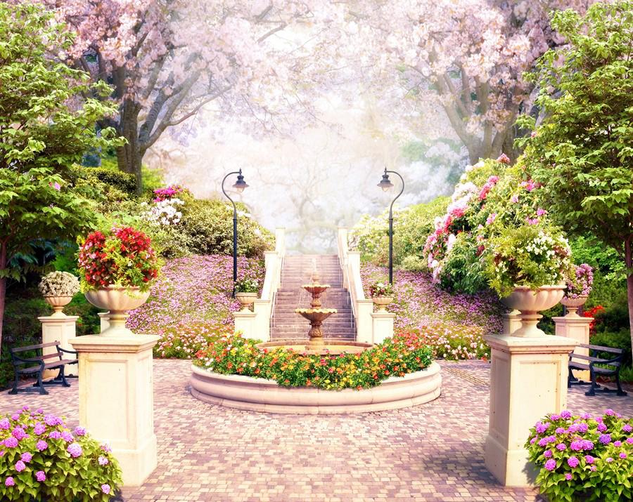 Фотообои Цветущий сад с фонтаном