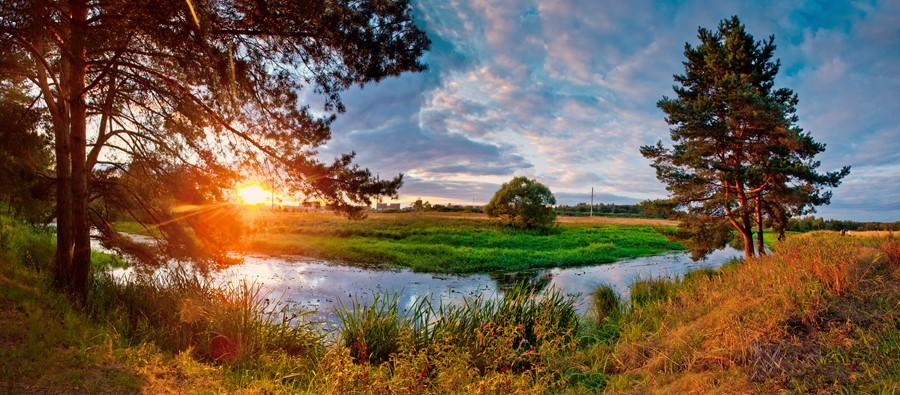 Фотообои Рассвет на реке