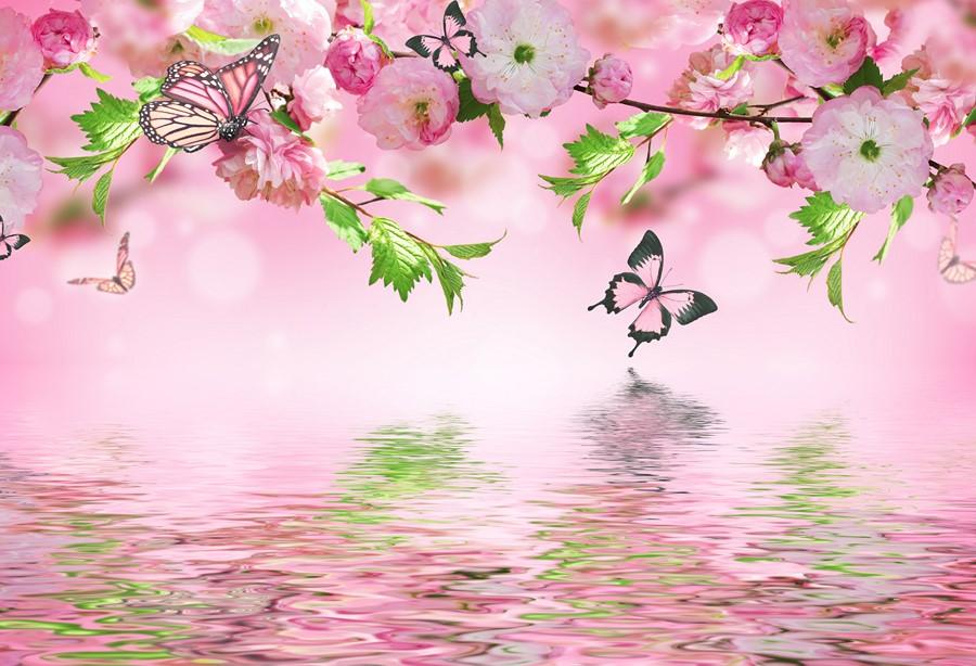 Фотообои Сакура над водой