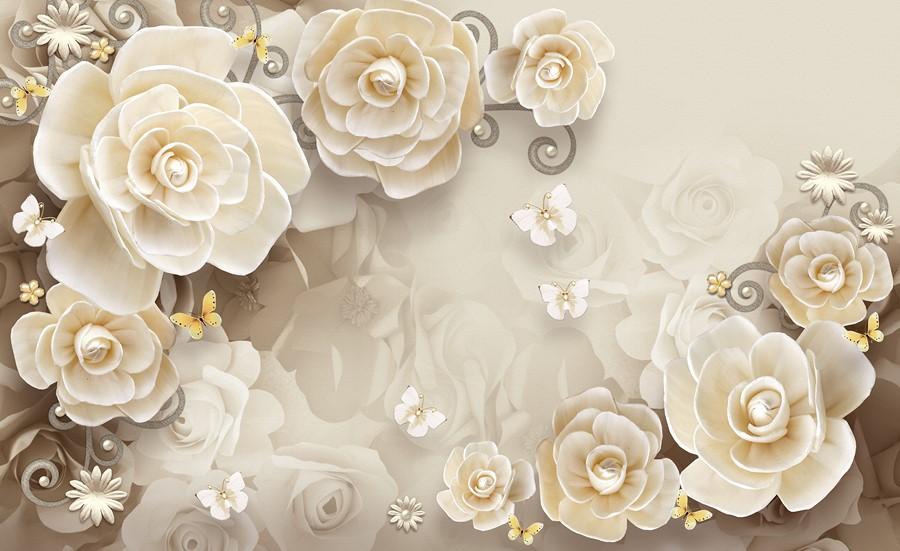 Фотообои Кремовые цветы