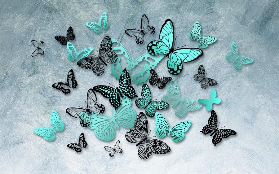 Фотообои Бирюзовые бабочки
