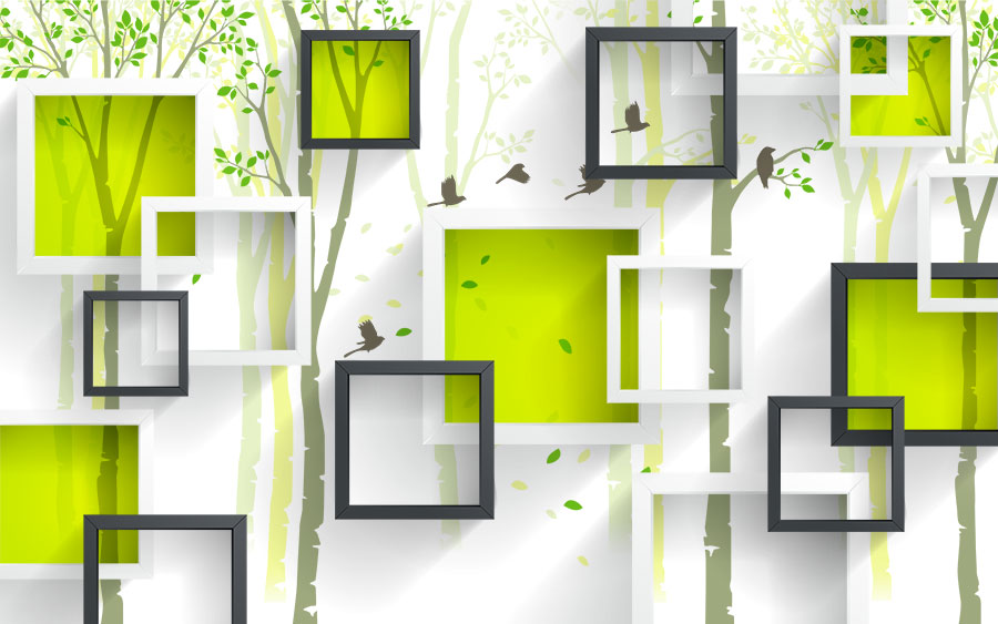 Фотообои Зелёные кубы