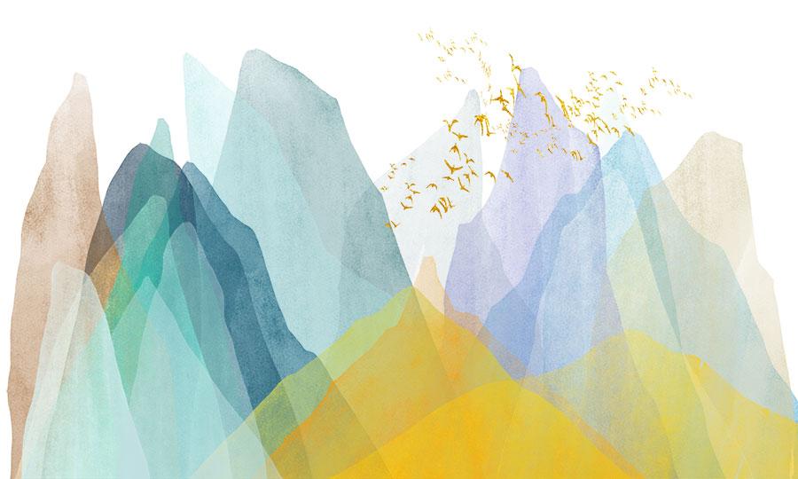 Фотообои Разноцветные горы