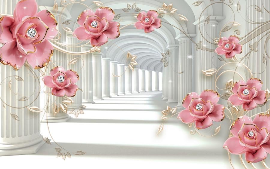 Фотообои Розовые цветы арка