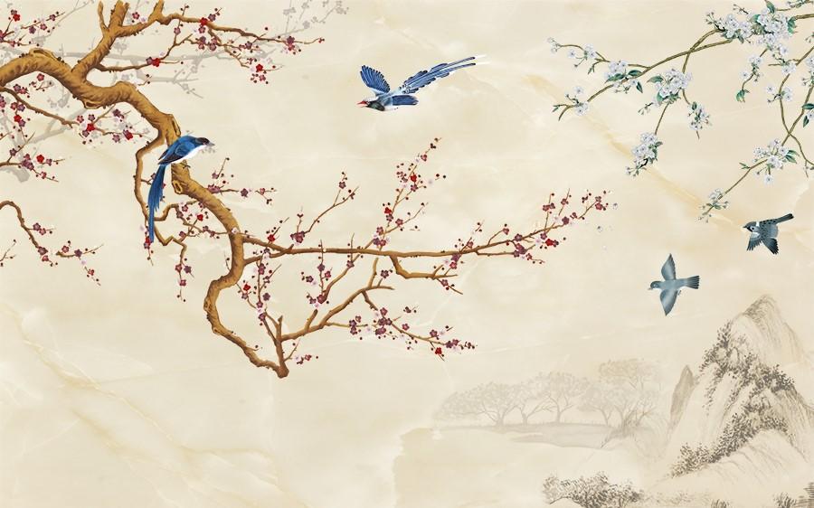 Фотообои Синие птички