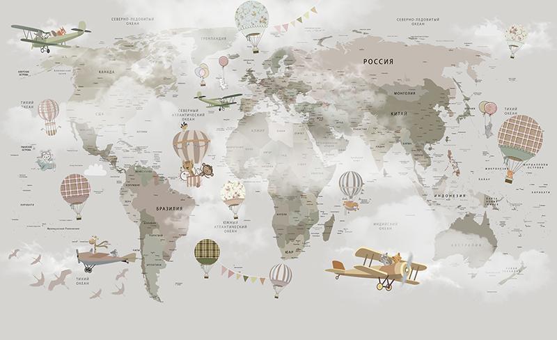 Фотообои Карта с самолётами