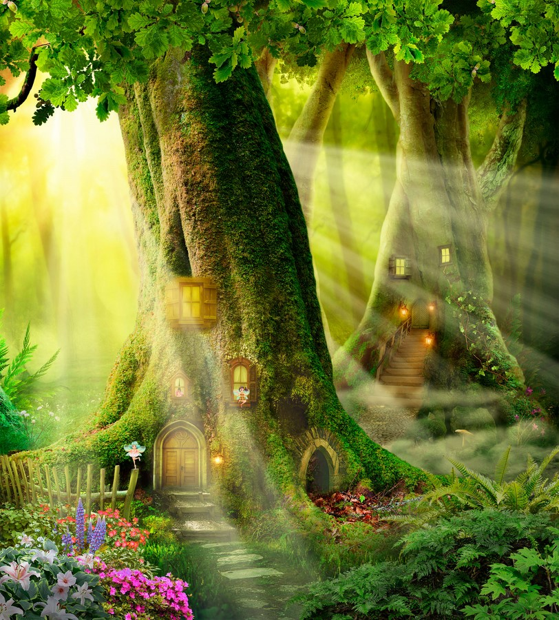 Фотообои Дома в деревьях