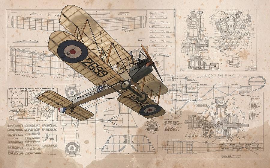 Фотообои Чертёж старого самолёта