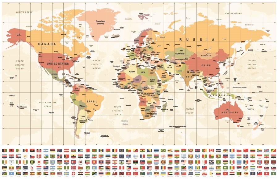 Фотообои Карта с флагами стран