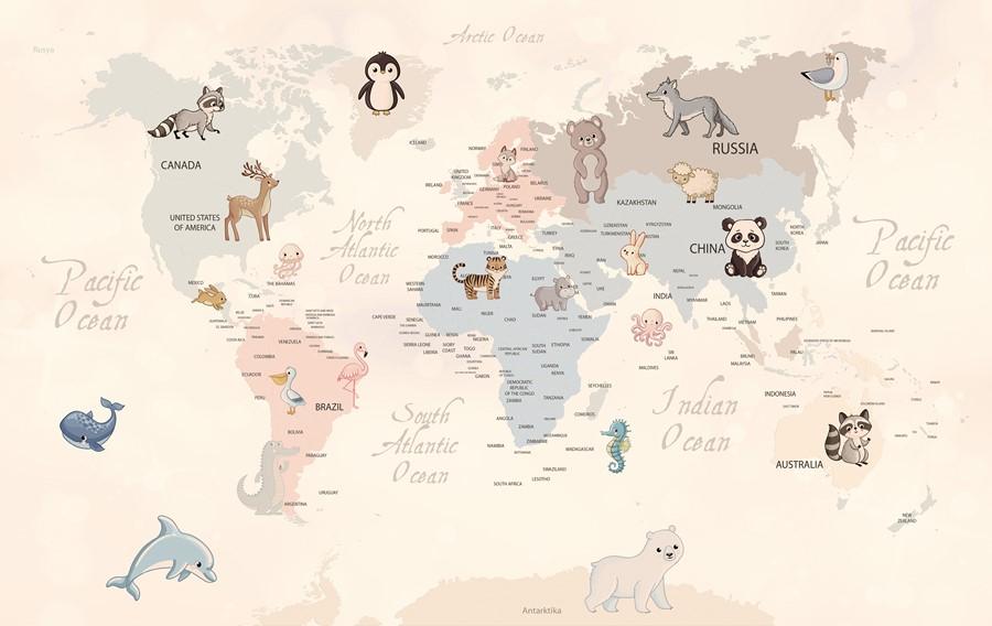 Фотообои Карта обитатели