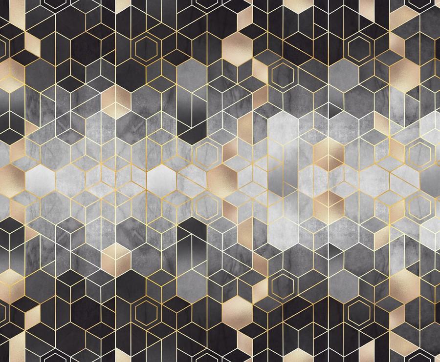 Фотообои Кубический узор ЧБ