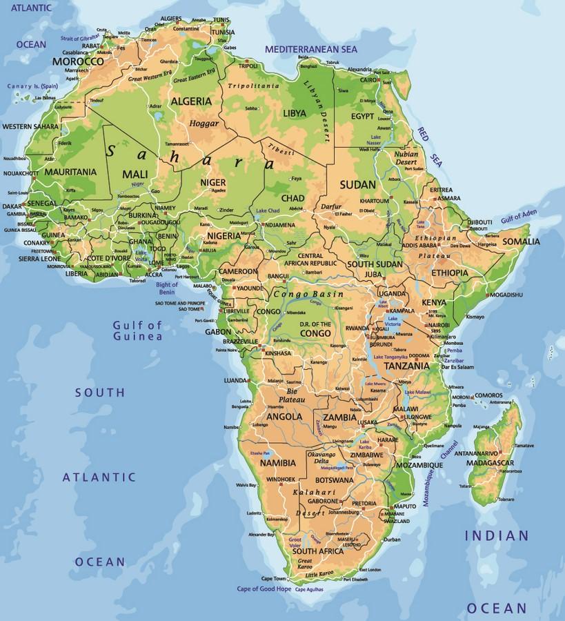 Фотообои Политическая карта Африки