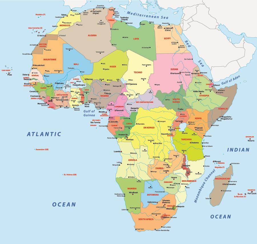 Фотообои Карта Стран Африки