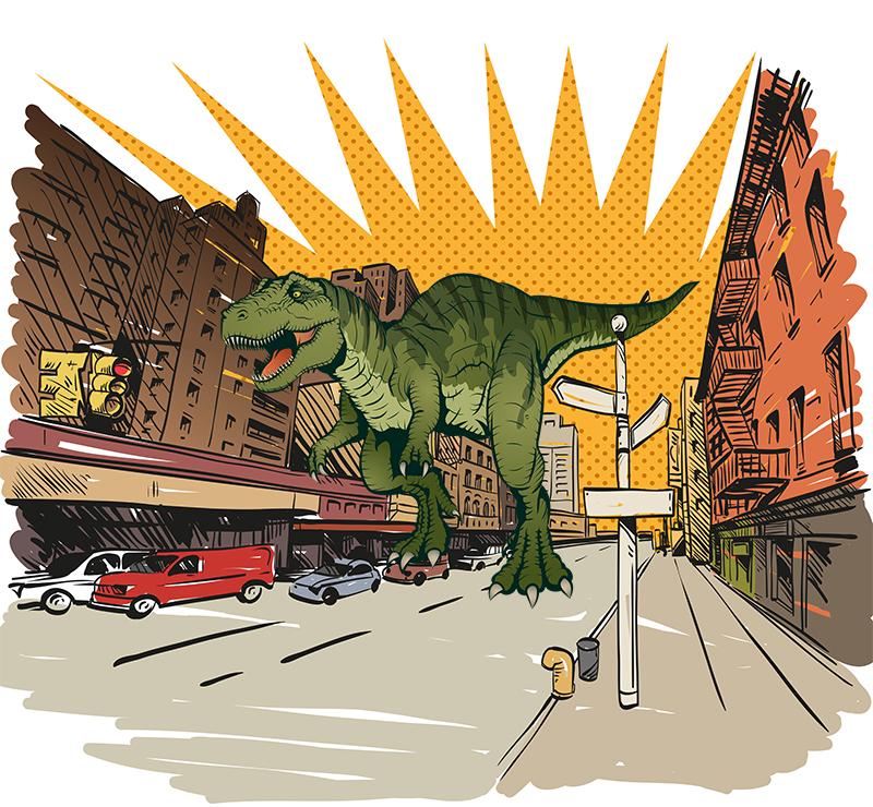 Фотообои Тираннозавр в городе