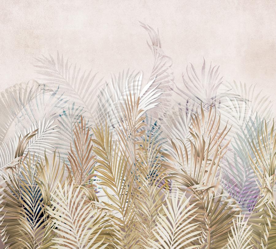 Фотообои Золотые тропические листья